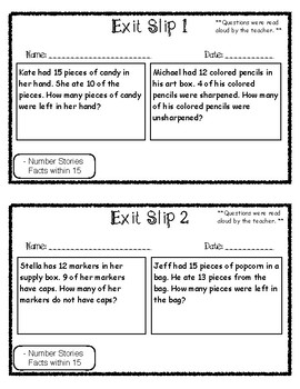 Exit Slip Subtraction Number Stories Facts Within 15 by First Grade ...