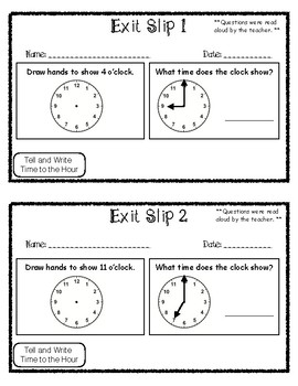 Exit Slip Tell and Write Time to the Hour
