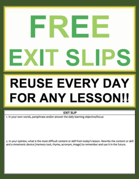 Exit Slip Template: Elementary, Middle School or High School FREEBIE