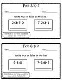 Exit Slip True and False Number Sentences