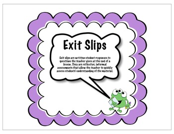 Exit Slip for Comprehension
