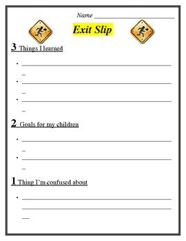 Exit Slip for Parents