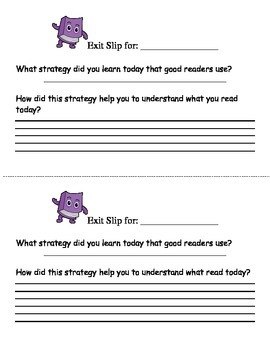 Exit Slip for Reading Strategy