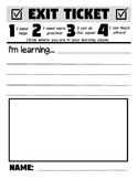 Exit Slip with Marzano Scale