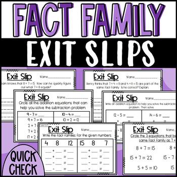 Exit Slips 1.0A.B.3 and 1.OA.B.4: Fact Family, Commutative/Associative Property
