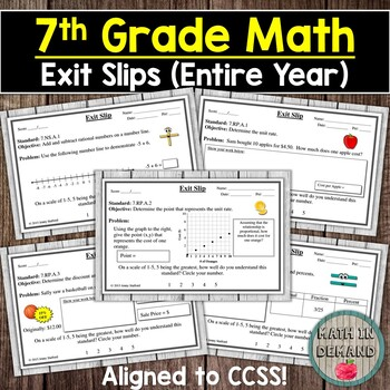 7th Grade Math Exit Slips (Math Exit Tickets)