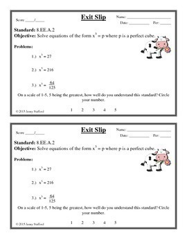 8th Grade Math Exit Slips (Math Exit Tickets)
