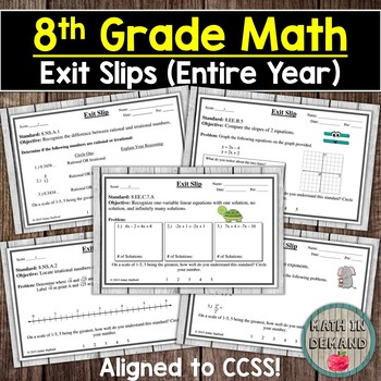 8th Grade Math Exit Slips (Math Exit Tickets) DISTANCE LEARNING