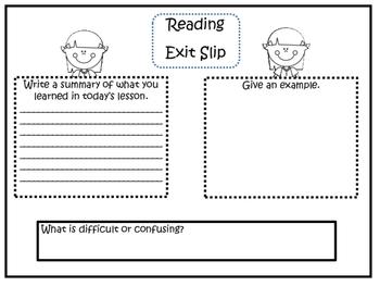 Exit Slips: Math, Reading, Social Studies, Science