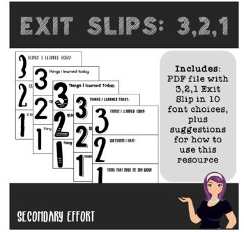 Exit Slips: 3, 2, 1 Format