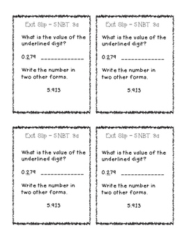 Exit Slips: Decimals {Basic Operations and Place Value} Fifth Grade