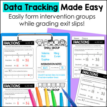 Exit Slips/Exit Tickets for 4th grade Fraction TEKS
