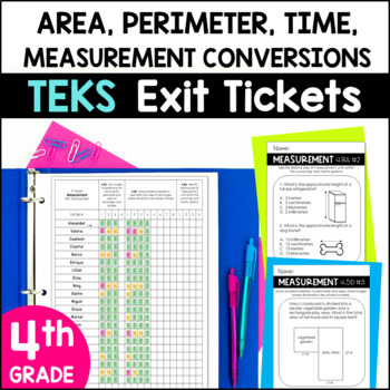 Exit Slips/Exit Tickets for 4th grade Measurement TEKS