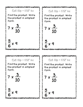 Exit Slips: Fractions {Basic Operations, Patterns, Models} Fifth Grade
