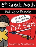 6th Grade Math Exit Slips Full Year Bundle