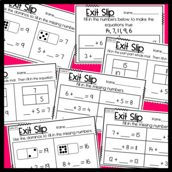 Exit Slips: Missing Addends & Determining Unknown Numbers