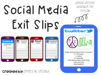 Exit Slips: Social Media Reflection & Assessment {Digital Version Included}