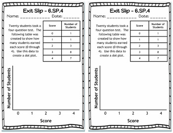 Exit Slips: Statistics & Probability Exit Slips, SP, 6th Grade Math Exit Tickets