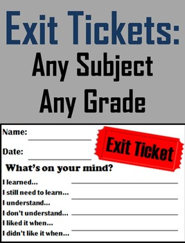 Exit Slips For any Subject - Formative Assessments