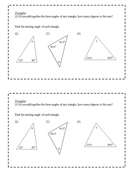 Exit Slips: Triangles, Quadrilaterals, and Transformations - 6th Grade Math