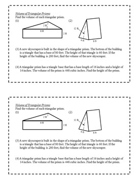 Exit Slips: Volume and Surface Area - 6th Grade Math