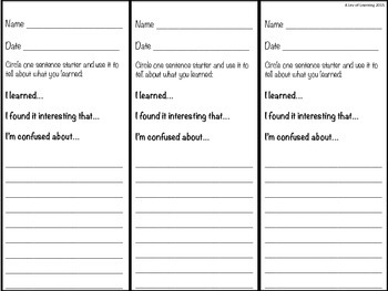 Exit Slips (all subjects)