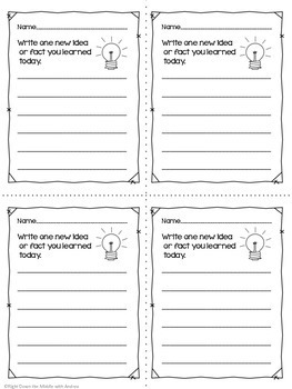 Exit Slips for All Subjects {4th-8th Grade}