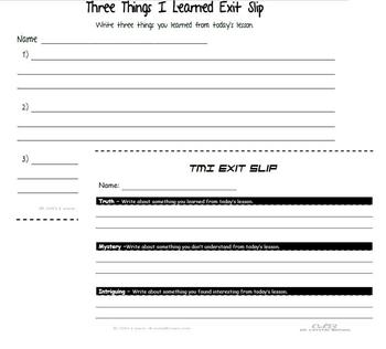Exit Slips for Formative Assessment and Differentiated Instruction