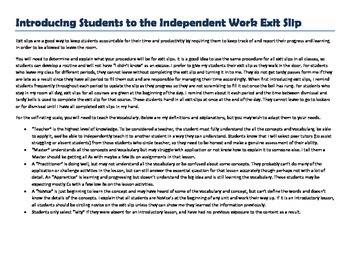Exit Slips for Independent or Group Work