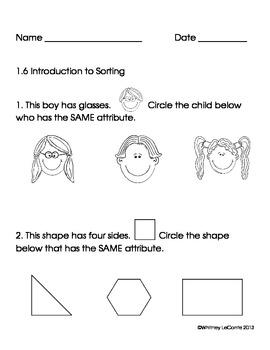Exit Slips for Kindergarten-Everyday Math Unit 1