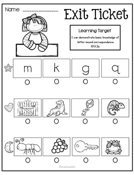 Kindergarten Common Core Exit Tickets for Little People:  Letter Sounds