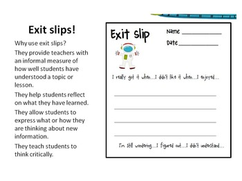 Exit Slips for all classes