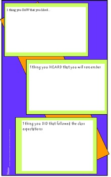 Exit Slips for student reflection