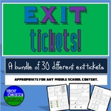 25 Exit Tickets Variety Pack for Middle School (Exit Slips)