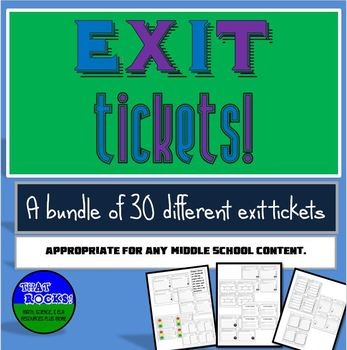 30 Exit Tickets Variety Pack for Middle School (Exit Slips)