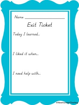 Exit Ticket Lined and Unlined