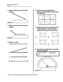 Exit Ticket #1 Math VA SOL 3.11