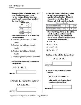 Exit Ticket #1 Math VA SOL 3.16