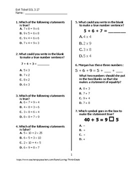 Exit Ticket #1 Math VA SOL 3.17
