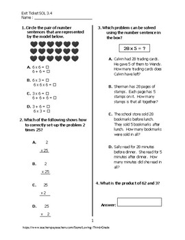 Exit Ticket #1 Math VA SOL 3.4