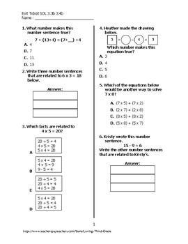 Exit Ticket #2 Math VA SOL 3.3b and 3.4b