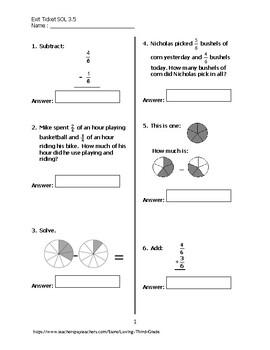 Exit Ticket #2 Math VA SOL 3.5