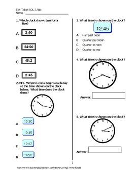 Exit Ticket #2 Math VA SOL 3.9 a,b