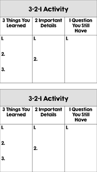 Exit Ticket: 3-2-1 Activity Cards