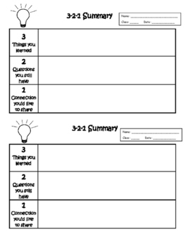 Exit Ticket 3-2-1 Summary or Interactive Notebook Output