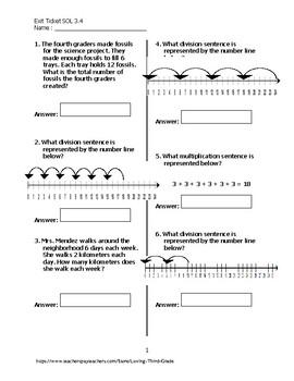 Exit Ticket #4 Math VA SOL 3.4