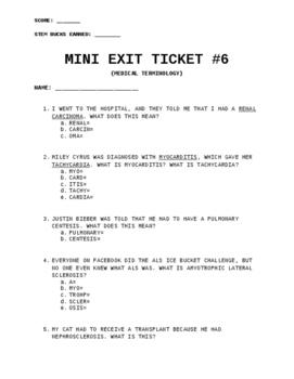 Exit Ticket (Quiz) #6: Medical Terminology