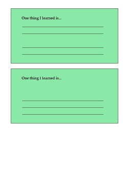 Exit Ticket Assessment Cards (Open Responses)