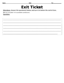 Exit Ticket Assessment Tool