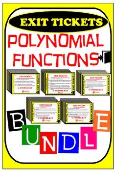 Exit Ticket - BUNDLE POLYNOMIAL FUNCTIONS (28 Exit Tickets)